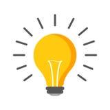 Fluorowa lightbulb ikona Żarówka znak Elektryczność i pomysł sy Obrazy Stock
