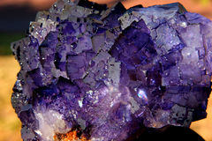 Fluorspar crystal. Mineral on coloured background Stock Images
