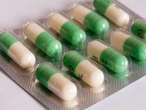 Fluoxetine, prozac pillen in een pakketbovenkant - neer stock fotografie
