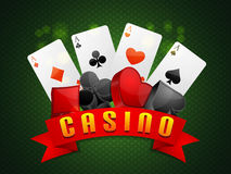 Flush cards with 3D symbols for Casino. Stock Photography