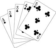 Flush clubs ace to five Royalty Free Stock Photo