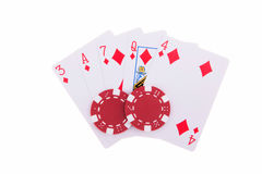 Flush of diamonds with poker chips Stock Images
