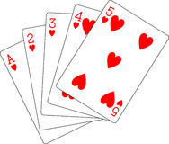 Flush hearts ace to five Stock Image