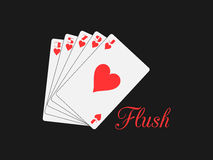 Flush playing cards. Poker hand. Vector. Illustration Royalty Free Stock Images