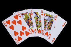 Flush. Royal flush (poker combination) made of hearts Stock Image