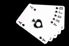 Flush of spades. Flush of  spades  ,isolated on black background Stock Image