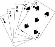 Flush spades ace to five Royalty Free Stock Photography