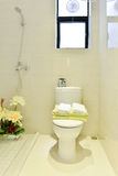 Flush toilet in bathroom. Under warm light Stock Photos