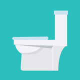 Flush toilet vector icon. Sanitation procelain fixture symbol wi Stock Image
