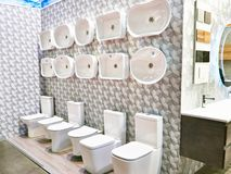 Flush toilets in store. Flush toilets in the store royalty free stock photography