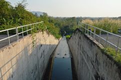 Flush way tunnel for drain water and protect flooding at Wang Bon reservoir Thailand. Flush way tunnel for drain water and protect flooding at Wang Bon reservoir royalty free stock photos