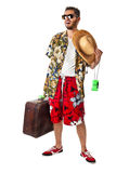 Flushed tourist. A young, attractive male in a colorful outfit ready to travel as a stereotype tourist royalty free stock images