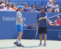 Grand Slam champion Andy Murray with his coach Ivan Lendl practices for US Open Royalty Free Stock Photos
