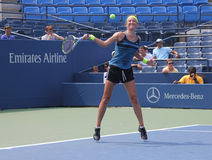 Grand Slam champion Victoria Azarenka practices for US Open at Billie Jean King National Tennis Cente Stock Photos