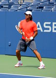 Professional tennis player Fernando Verdasco practices for US Open Stock Photo