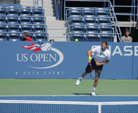 Professional tennis player Tommy Haas practices for US Open at Louis Armstrong Stadium at Billie Jean King National Tennis Center Royalty Free Stock Photo