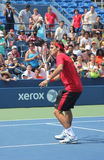 Seventeen times  Grand Slam champion Roger Federer practices for US Open  at Billie Jean King National Tennis Cente Royalty Free Stock Photo