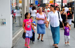 Flushing, NY: People on Busy Street Stock Image