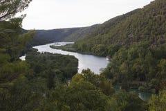 Flussüberquerung Krka-Park in Kroatien Stockbilder