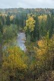 Fluss Amata am Herbst, gelbe Bäume, Ansicht vom hohen Hügel 2017 Lizenzfreie Stockfotografie