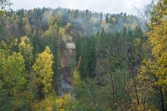 Fluss Amata am Herbst, gelbe Bäume, Ansicht vom hohen Hügel 2017 Stockfoto