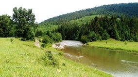 Fluss auf Bergen des grünen Tales gestalten landschaftlich lizenzfreies stockfoto