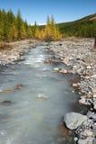 Fluss, Berge und Holz. Lizenzfreie Stockbilder
