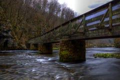 Fluss, Brücke, Wald, lange Belichtung stockbild