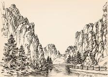 Fluss in den Bergen stock abbildung