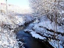 Fluss in der Dorfwinterlandschaft Lizenzfreie Stockfotos