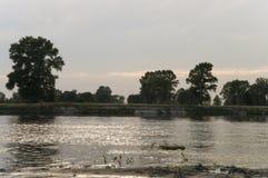 Fluss, der herüber mit Reflexionen im Wasser läuft Abendsonnenuntergang mit Rosa- und Veilchenfarben im Himmel Schattenbilder Lizenzfreie Stockfotos