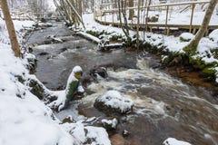 Fluss in der schneebedeckten Landschaft Stockbilder