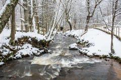 Fluss in der schneebedeckten Landschaft Stockfotografie