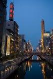 Fluss Dotombori.Osaka.Japan Stockfotos
