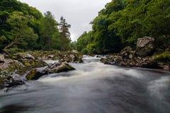 Fluss Feuch-Stromschnellen-lange Belichtung Stockbild