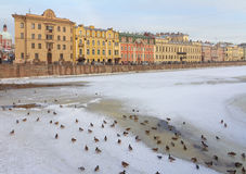 Fluss Fontanka in St Petersburg, Russland Stockfotos