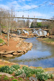 Fluss Greenville Sc Liberty Bridge Falls Park Reedy Stockfotos