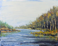 Fluss im Herbstwald, Ölgemälde Lizenzfreie Stockfotografie