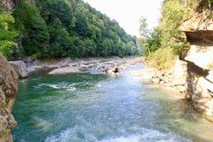Fluss im Karpatenberg Stockbild