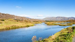 Fluss im Rift Valley in Nationalpark Thingvellir Stockfoto