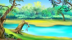 Fluss im tropischen Dschungel an einem sonnigen Tag