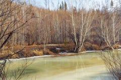 Fluss im Vorfrühling Das Eis fängt an zu schmelzen Stockfotografie