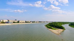 Fluss Irtysh.Omsk.Russia. Stockbilder