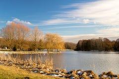 Fluss-Landschaft mit Vorfrühling Stockbild