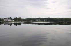 Fluss-Landschaft von Kennebunkport in Maine-Staat von USA stockbild