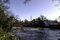 Fluss Leam im Winter - Pumpenraum/Jephson-Gärten, königlicher Leamington-Badekurort lizenzfreie stockfotos