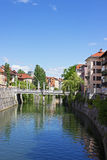 Fluss in Ljubljana Stockfotografie