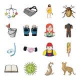 Fluss, Luchs, Katze und andere Netzikone in der Karikaturart Tier, Tourismus, Erholungsikonen in der Satzsammlung Lizenzfreies Stockbild