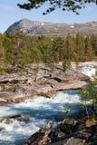 Fluss mit Bergen in der Rückseite Stockfotografie