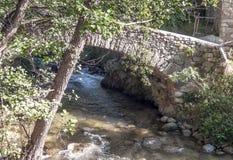 Fluss mit Brücke Lizenzfreie Stockbilder